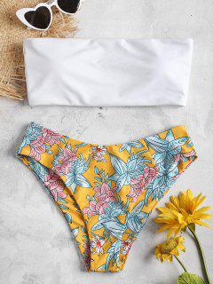 Ensemble Bikini Bandeau à Imprimé Floral  - Jaune Clair S