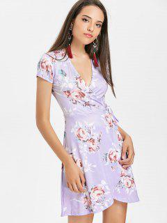 Vestido Con Estampado De Flores De Pliegues - Color De Malva L