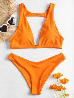 Ensemble Bikini Coquin Avec Découpe Et Décolleté En V - Orange M