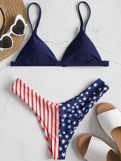 American Flag Bikini Set - Deep Blue L
