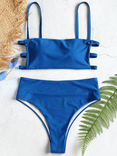 Strappy Lattice High Waisted Bikini Set - Blue Eyes L