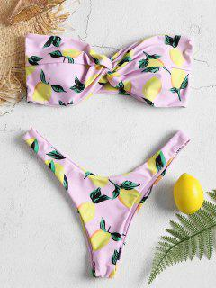 Lemon Print High Cut Bikini Set - Cotton Candy M