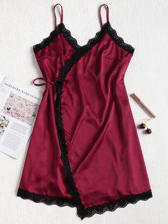 Wrap Nightgown Satin Slip Dress - Maroon L