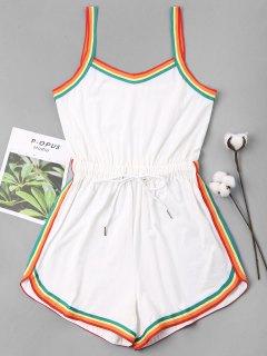 Rainbow Trim Drawstring Cami Romper - Blanco L