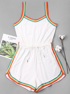Rainbow Trim Drawstring Cami Romper - White Xl