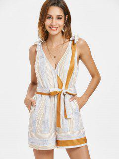 Low Cut Stripes Belted Romper - Multi L
