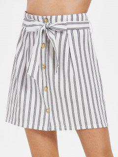 Button Up Striped Belted Skirt - White L