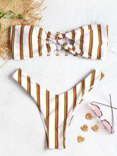 Streifen Knoten Ausgeschnitt Bandeau Bikini Set - Weiß M