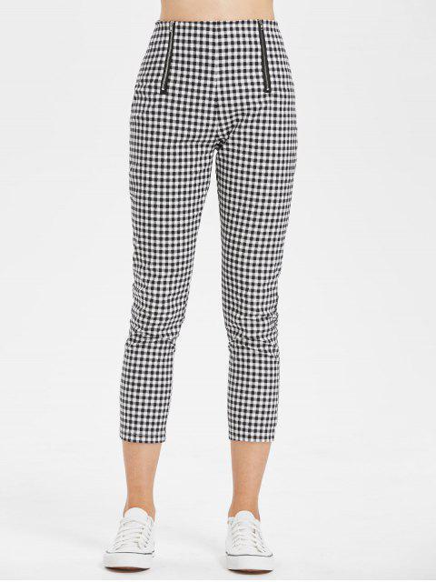 Pantalones de talle alto de cintura alta Gingham - Multicolor L Mobile