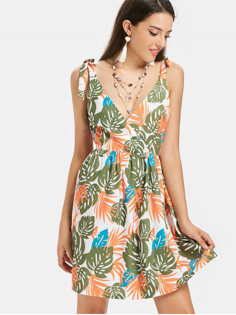 sale Tropical Print Crossover Midi Sundress - MULTI L Mobile