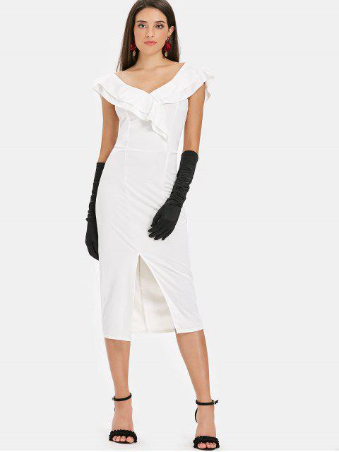 chic Slit Ruffles Midi Dress - WHITE M Mobile