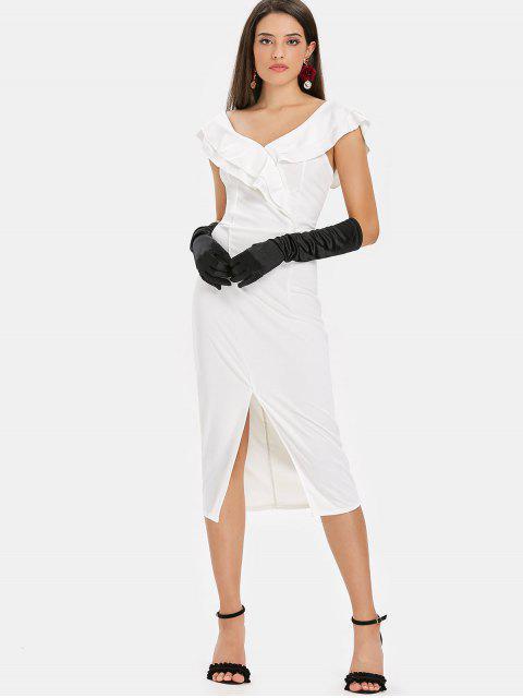 Mini-robe à Volants et Fendue - Blanc XL Mobile