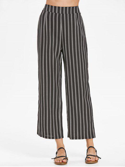 Pantalon Taille Haute et à Rayures - Noir XL Mobile