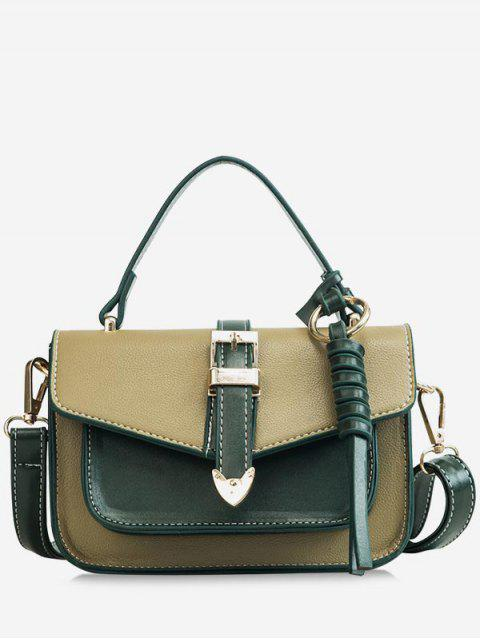 women's Color Block Flapped Chic Buckled Crossbody Bag with Handle - MEDIUM SEA GREEN  Mobile