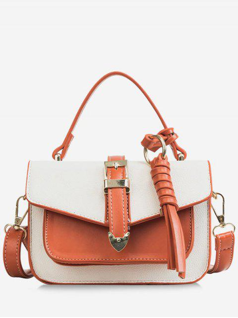 best Color Block Flapped Chic Buckled Crossbody Bag with Handle - WHITE  Mobile