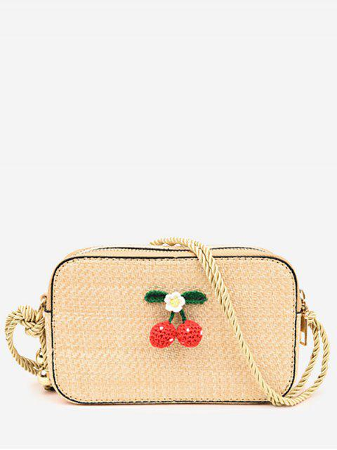 shop Cherry Decorated Casual Straw Rope Strap Sling Bag - LIGHT KHAKI  Mobile