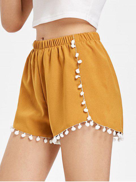 Short à Ourlet Pompoms - Orange d'Or S Mobile