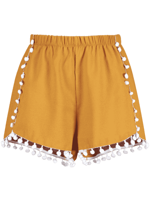 Short à Ourlet Pompoms - Orange d'Or L Mobile