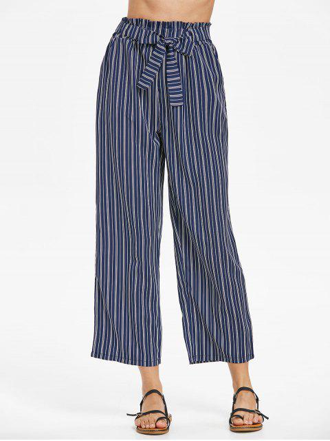 womens Striped Belted Pants - CADETBLUE L Mobile