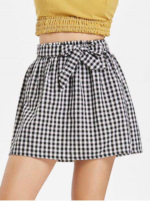 Mini-jupe Forme Sac en Papier à Taille Basse en Vichy - Multi M Mobile