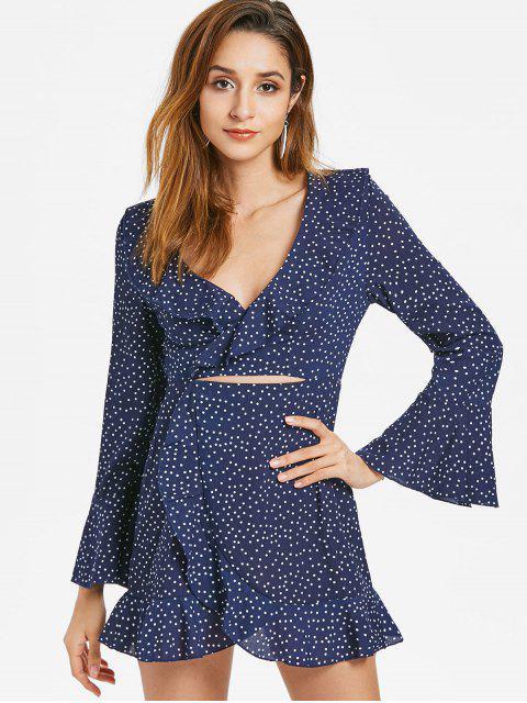 Ausgeschnittenes Rüschen Punkte Kleid - Kadettenblau M Mobile