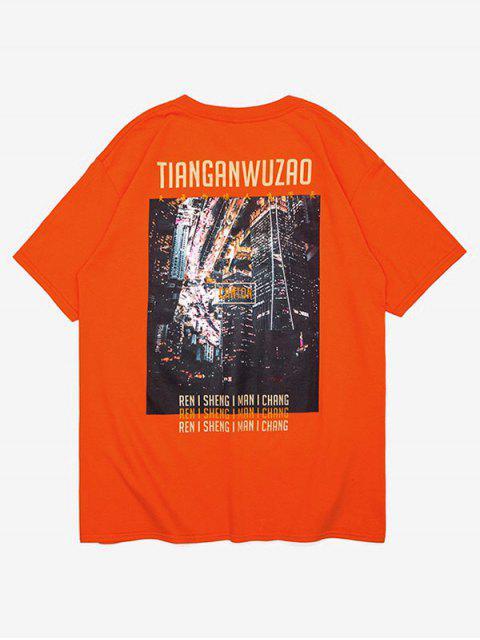 Camiseta con estampado gráfico de caracteres chinos - Naranja Brillante M Mobile