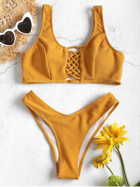 Bikini Débardeur avec Treillis sur le Devant - Jaune d'Abeille M Mobile