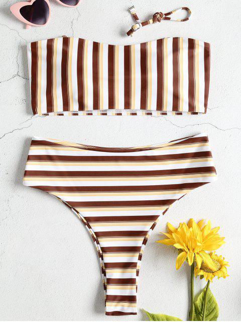 Streifen Bandeau Hoch Tailliertes Bikini-Set - Multi L Mobile