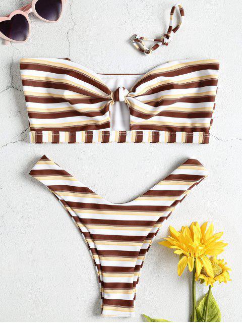 Conjunto de bikini palabra de honor con nudo de pierna alta - Multicolor S Mobile