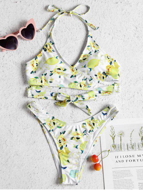 fashion Lemon Floral Print Wrap Bikini Set - WHITE M Mobile