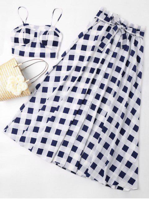 Conjunto de falda con cinturón a cuadros - Azul de Medianoche XL Mobile