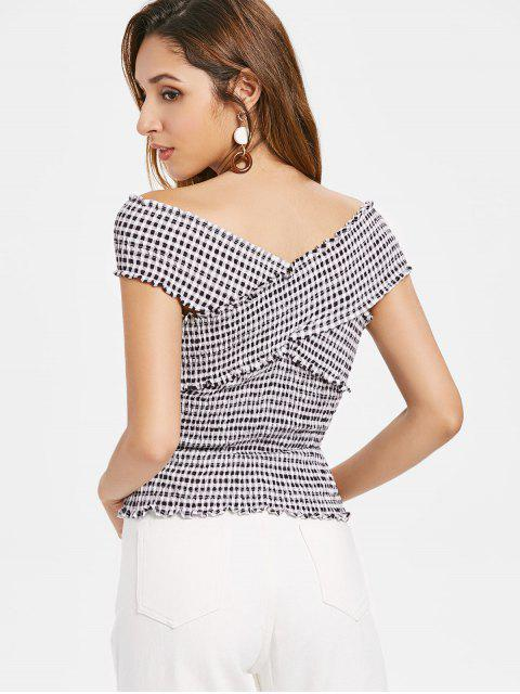 latest Crossover Gingham Smocked Top - BLACK L Mobile