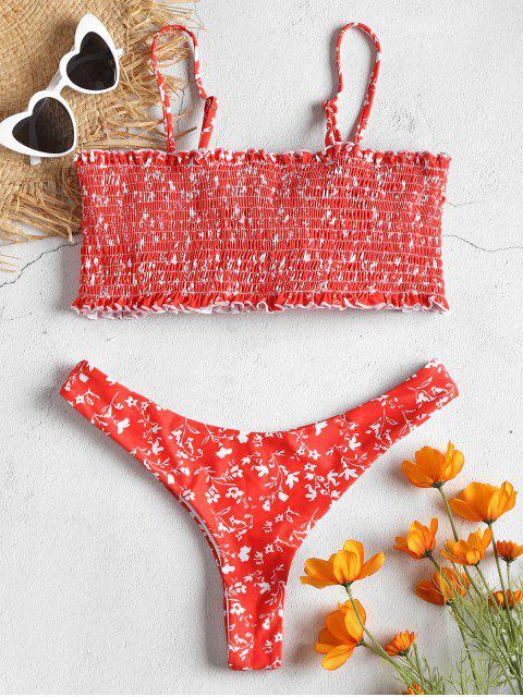lady Smocked Tiny Floral Frilled Hem Bikini Set - FIRE ENGINE RED L Mobile
