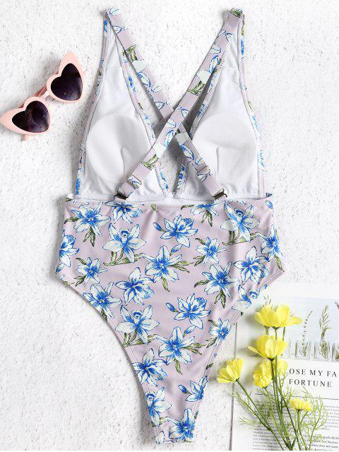 women's Plunge Floral High Cut One Piece Swimsuit - PERIWINKLE L Mobile