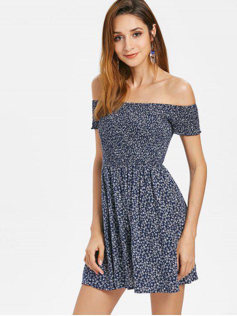 shops Tiny Floral Smocked Off Shoulder Dress - DARK SLATE BLUE L Mobile