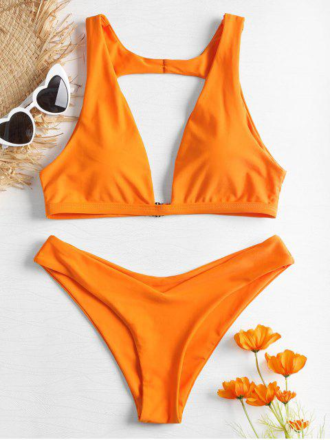 Conjunto de bikini recortable en forma de V en forma de V - Naranja M Mobile