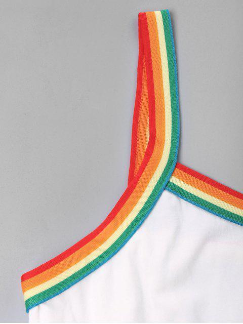 womens Rainbow Trim Drawstring Cami Romper - WHITE XL Mobile