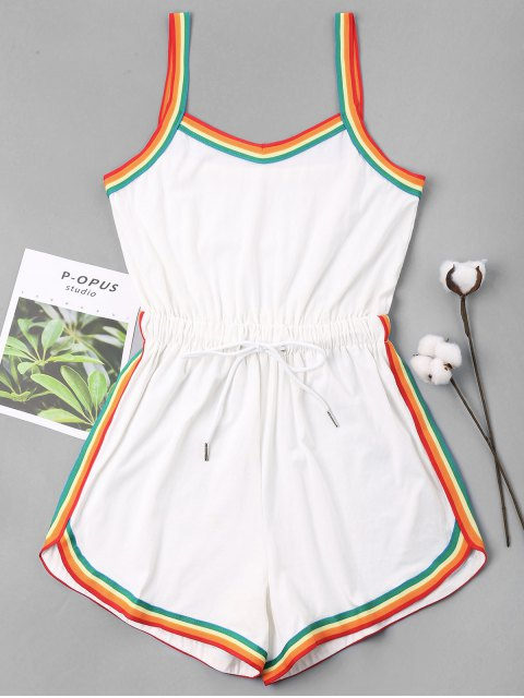 Rainbow Trim Drawstring Cami Romper - Blanc XL Mobile