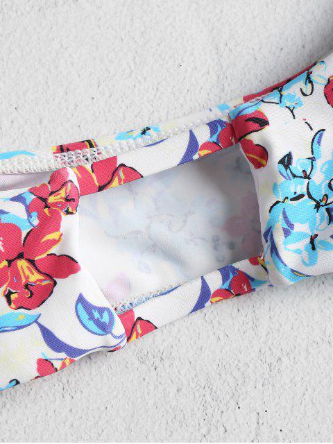 Ensemble Bikini Brassière avec Attaches aux Épaules Motif Floral - Multi L Mobile