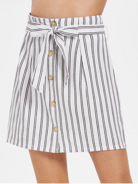 Falda con cinturón a rayas con botones - Blanco M Mobile