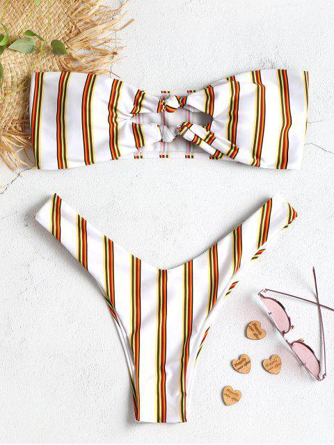 Streifen Knoten Ausgeschnitt Bandeau Bikini Set - Weiß M Mobile