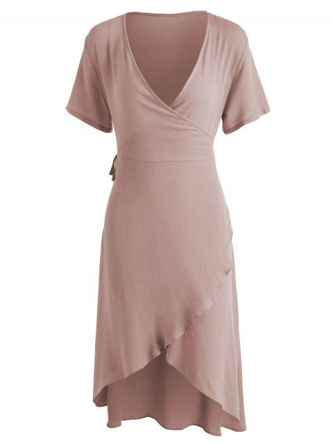 chic Asymmetrical Wrap Midi Dress - KHAKI ROSE L Mobile