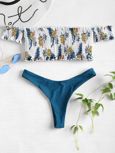 Ananas Smocked Schulterfreier Bikini Set - Multi M Mobile
