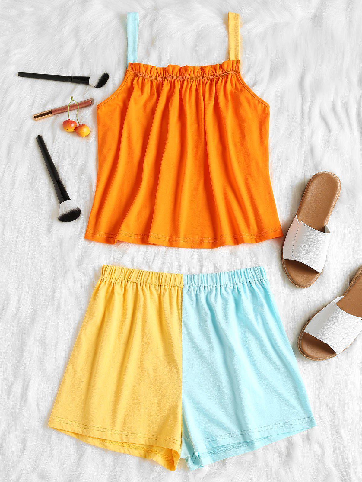 Colour Block Top and Shorts Pajama Set
