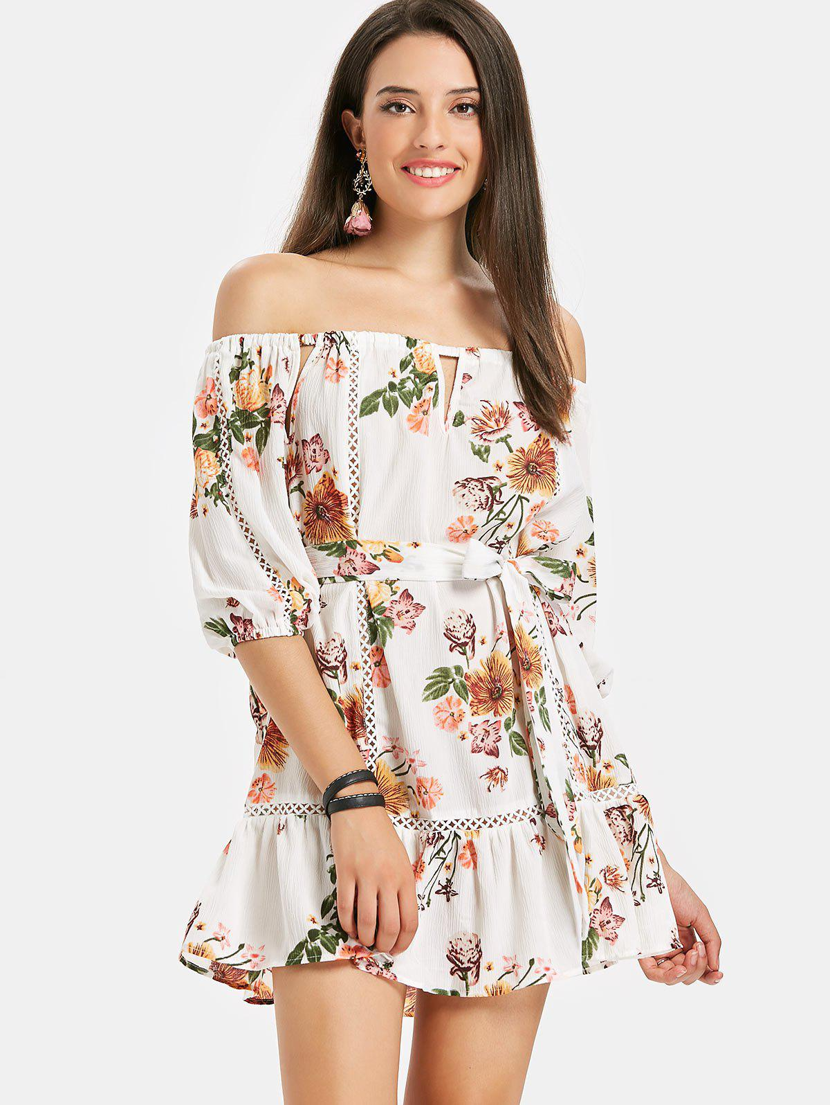 Off Shoulder Floral Flounce Beach Dress