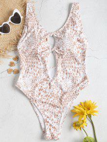 ربط ارتفاع قص منقوشة ملابس السباحة - متعدد L