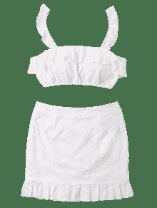 Falda Conjunto Con Corta Falda De Blanco Volantes Mini Y M Oqq6fR5