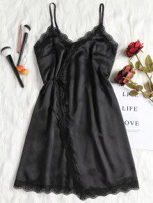 لف ثوب النوم ثوب الساتان الانزلاق - أسود M