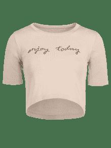 Bordada Albaricoque De Punto De Lema De Camiseta Cultivo 4wPqzHH