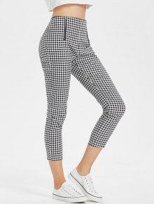Gingham High Waisted Slacks Ankle Pants - متعدد M